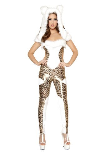 Roma Costume 1 Piece Charming Costume, Cheetah Print/White, Large
