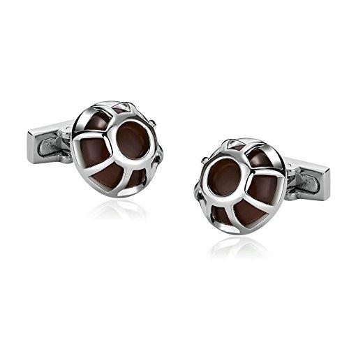 (Aooaz Men's Cufflinks Stainless Steel Cufflinks Hollow Round Zirconia Pierced Silver Brown With Gift Box)