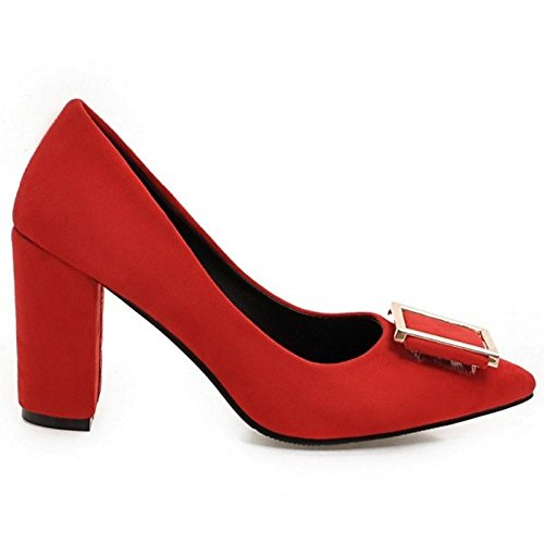 Thick Zuban Women Red Pumps Heel Chila OHpSqS