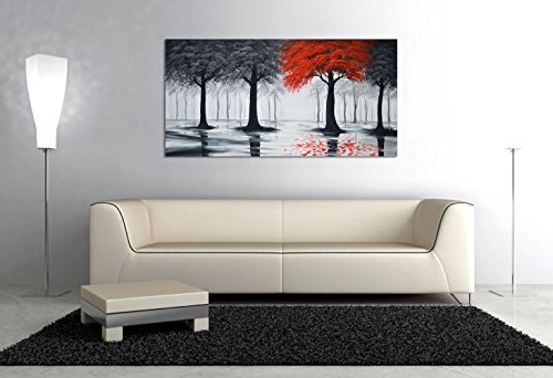 Portrait Oil Art Painting Framed (Everfun Art Hand Painted Landscape Oil Painting On Canvas Modern Contemporary Black and Red Forest Wall Art Abstract Tree Stretched Artwork Framed Ready to Hang ( 40x20 inch))