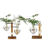 Szklany wazon na pąki z drewnianym stojakiem, kreatywny pojedyncze szkło w kształcie serca wazony hydroponiczne, nowoczesna stacja do uprawy roślin biurkowych wazon na rośliny do domu ogrodu biura dekoracja