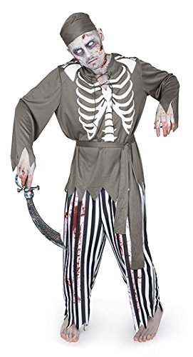 Karnival Men's Zombie Pirate Costume Set - Perfect for Halloween, Costume Party Accessory. Trick or Treating (XL)