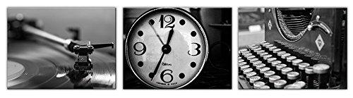time4art Blanco y Negro Reloj máquina de Escribir Pastilla ...