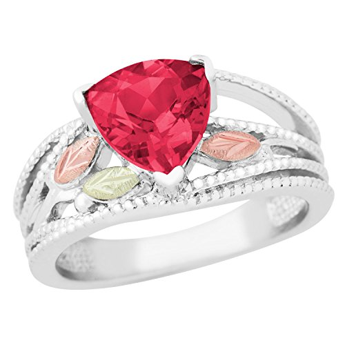 (Created Trillion Ruby Ring, Sterling Silver, 12k Green and Rose Gold Black Hills Gold Motif, Size)