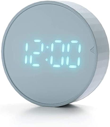 Haofy Portable Fashion Mini Metal Digital Alarm Clock with Battery 3Inch Exquisite Desk Table Clock for Office and Home Students and Office workers red