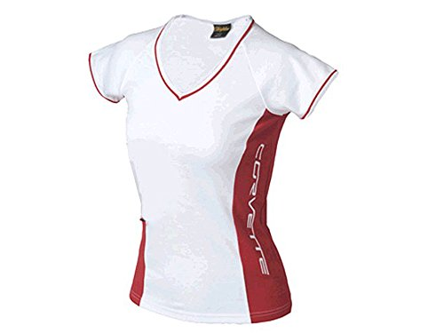 Corvette Embroidered Juniors T-Shirt White and Red Contrast Medium