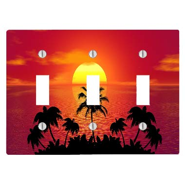(Moonlight Printing Tropical Beach Ocean Sunset 3 Toggle Electrical Switch Wall Plate (6.56 x 4.69in))