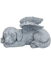 WIOR Pet Memorial Stone, Resin Dog Memorial Statue Pets Grave Marker Grave for Cemetery for Pets Dog Memorial Bereavement Gifts Sleeping Dog Angel Tribute Statue to Honor Cherished Pets