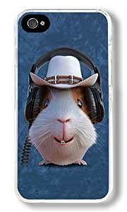 Cowboy Guinea Pig With Headphone Custom iPhone 4S Case Back Cover, Snap-on Shell Case Polycarbonate PC Plastic Hard Case Transparent
