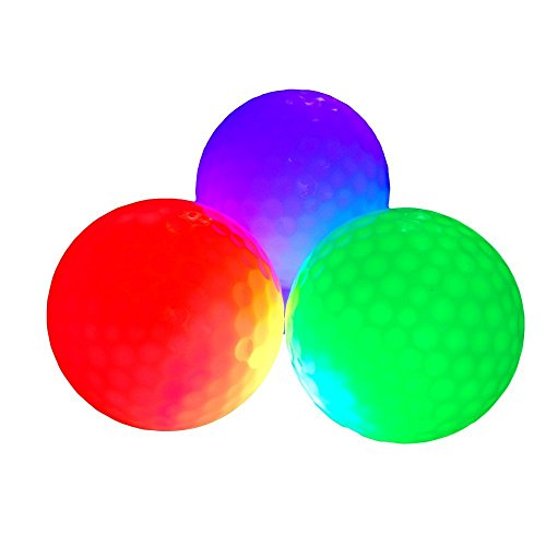 LED Golf Balls, DREAM Light Up Golf Balls Standard Glow Golf Balls Pack with Blue, Red, Green for Night Sports Ultra Bright Glow In the Dark Golf Balls (Pack of 3)