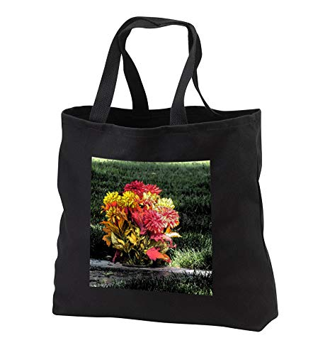 Jos Fauxtographee- Ink Outline Fall Bouquet - An ink outline done digitally of a bouquet of Memorial fall flowers - Tote Bags - Black Tote Bag 14w x 14h x 3d (tb_301458_1)