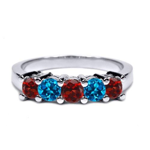 1.00 Ct Round Red Garnet London Blue Topaz 925 Sterling Silver Wedding Band Ring
