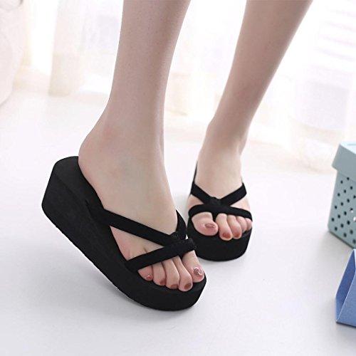 Sandales Compensées Femmes Inkach - Sandales Dété De La Mode Talon Chunky Tongs Pantoufles Chaussures À Talons Noir