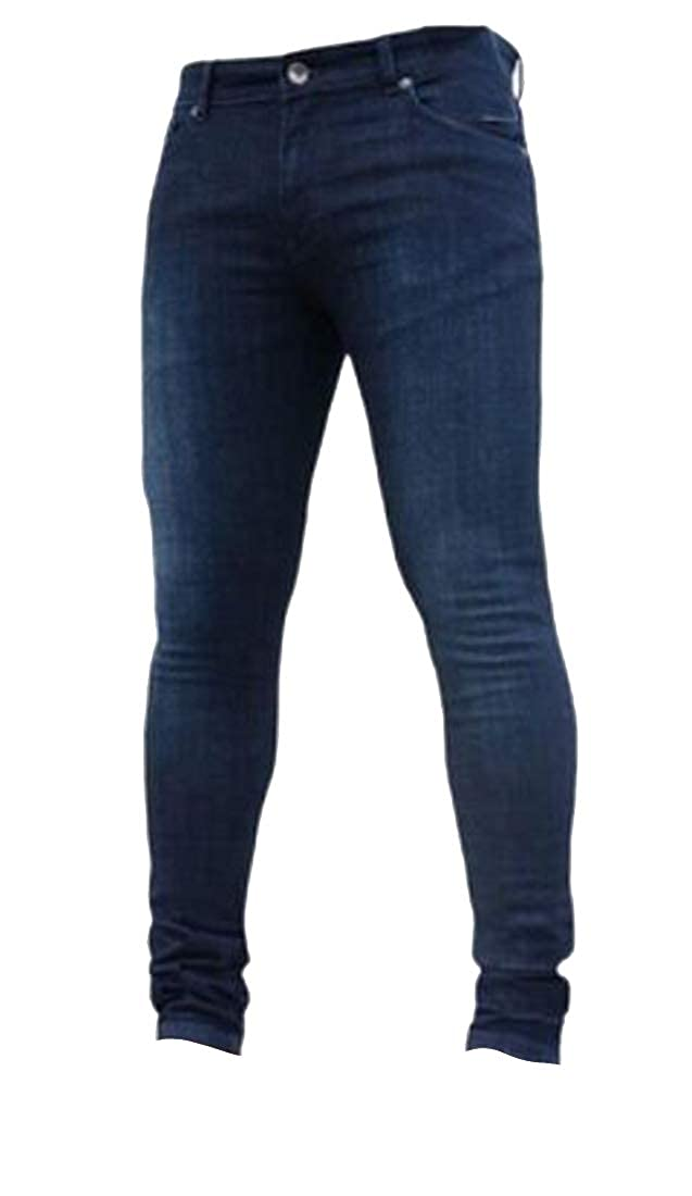 Jotebriyo Mens Slim Fit Skinny Washed Solid Color Casual Stretchy Basic Jeans Denim Pants