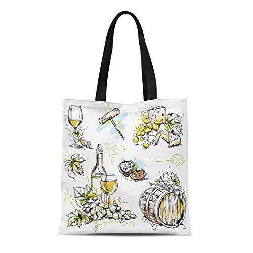 - Semtomn Canvas Tote Bag Shoulder Bags Wine Tasting Sketch Pen and Ink Watercolor Drawings Women's Handle Shoulder Tote Shopper Handbag