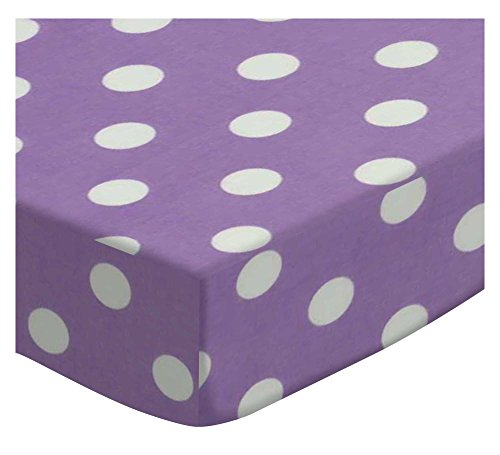 SheetWorld Extra Deep Fitted Portable Mini Crib Sheet - Pastel Lavender Polka Dots Woven - Made In USA by SHEETWORLD.COM