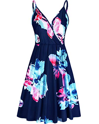 STYLEWORD Women's V Neck Floral Spaghetti Strap Summer Casual Swing Dress with Pocket(Floral10,S)]()