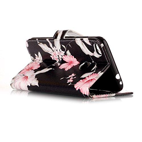 Funda Huawei P8 lite 2017,SainCat Funda de cuero sintético tipo billetera con de Suave PU Carcasa Con Tapa y Cartera, Elegante Estuche Caja,Pintado en relieve árbol Cuero de la PU Leather Cubierta Ple Azalea
