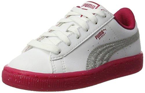 silver white Zapatillas Niños 2 Blanco Unisex Iced Glitter Ps Basket Puma 7Ovqpp