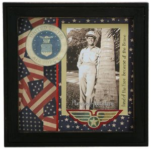 patriotic air force military scrapbook picture frame shadowbox united states air force - Military Frames