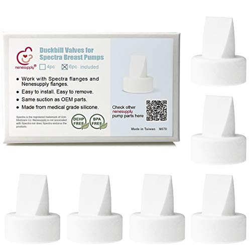 Nenesupply Compatible Duckbill Valves for Spectra S1 Spectra S2 and Medela Pump in Style Not Original Spectra Pump Parts Replace Spectra Duckbill Valve (6pc White)