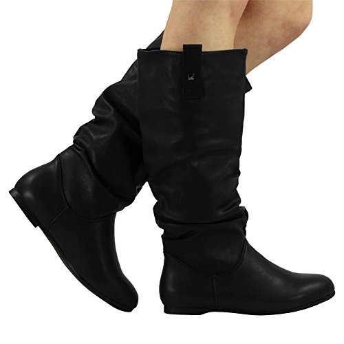 Size Slouch Calf 6 Boots Long Womens ON Pull MID Pixie Rouched Flat Ladies Knee vqUqwE7F