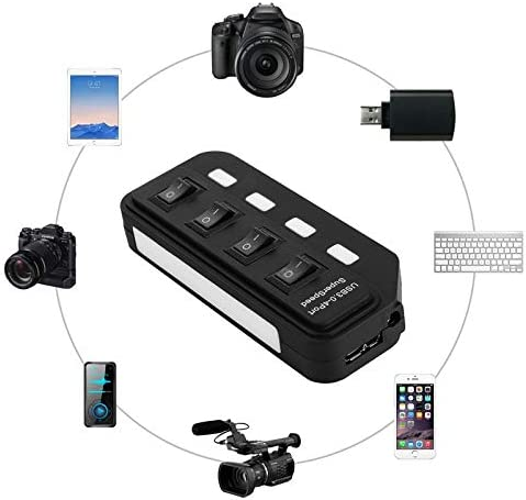 JINYANG Superior 4 Port USB 3.0 Hub with Individual Switches for Each Data Transfer Ports Black