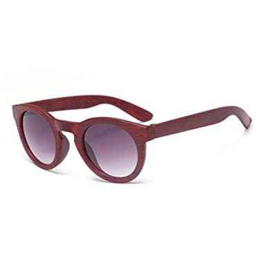 9a1f013ef9 Dark red dark grey lens Retro Men s Women Bamboo Wood Print Round Sunglasses  Aviator Eye Glasses