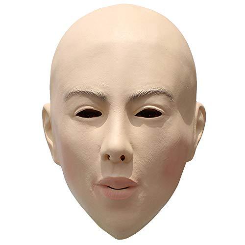 XWU Halloween Horror Silicone DIY Masquerade Props Bald Beauty Mask Plays Face Mask Latex Bald Masks -