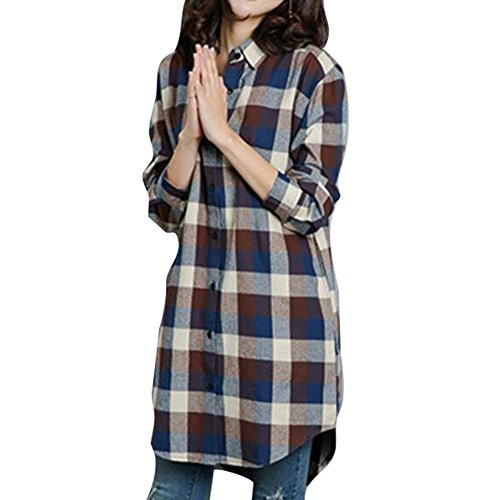 4e274b663d Mujer Camisero De Algodon Manga Larga Camisero con Bolsillos Con Cuello En  V Blusas S M L XL