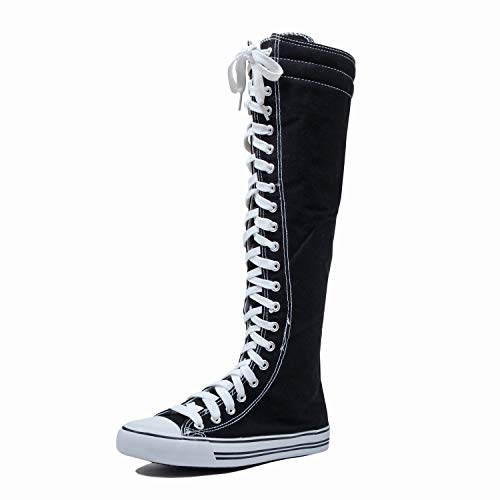 West BLVD Sneaker Boots Black White Canvas, Sneaker Black White Canvas 10]()