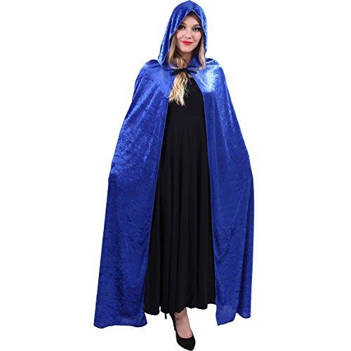 flatwhite Women's Full Length Crushed Velvet Hooded Cape Costumes (Length Velvet Cape)