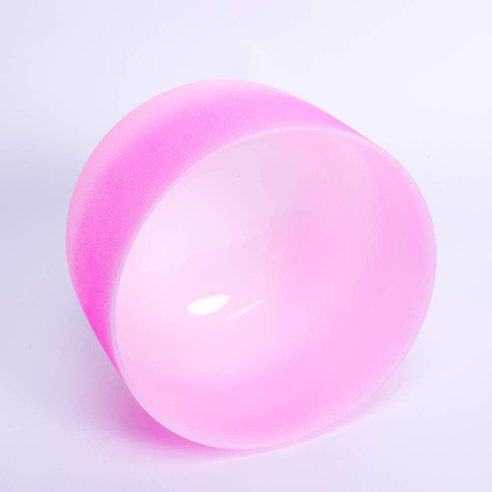 432HZ 8 Rose Pink Light Pink F Note Heart Chakra Frosted Quartz Crystal Singing Bowl,O ring and Suede Sticker included