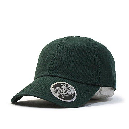 Classic Washed Cotton Twill Low Profile Adjustable Baseball Cap (Dark Green) (Dark Green Baseball Hat)