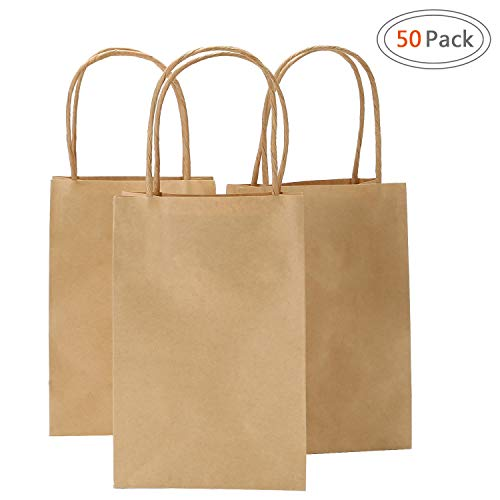 Road 5.25x3.25x8 Inches 50pcs Kraft Brown Paper Bags with Handle, Retail Shopping Bag, Craft Paper Bag, Merchandise Bag, Gift , Party Bag by Road
