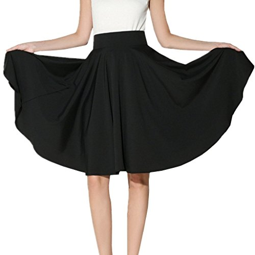 XINUO Women Summer Skirts Knee Length 360° Big Swing Skater Party Full Midi Skirt (US10=L,Black) by XINUO