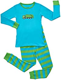 Boys Garbage Truck Train 2 Piece Pajama Set Top & Pants 100% Cotton (Size Toddler-14 Years)