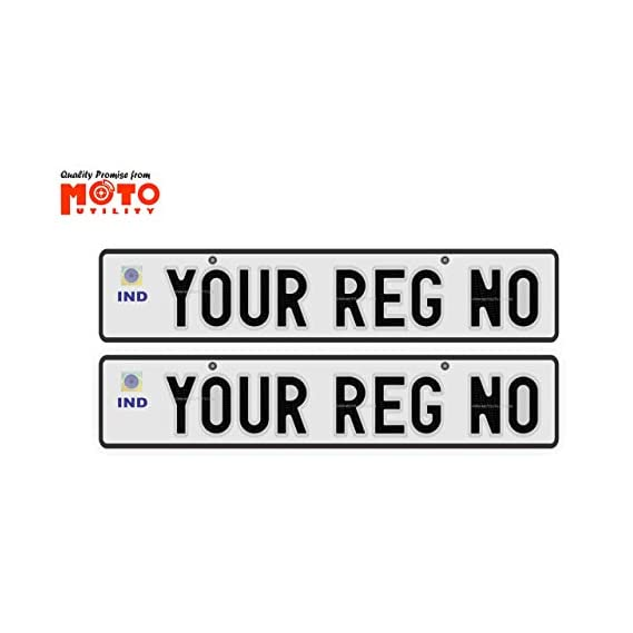 Moto Utility Car Number Plate Front and Back RTO Standard Size 19.5X4.75 inches Aluminium Pressed Plates   Read