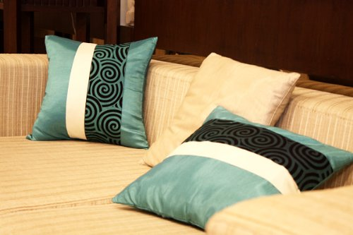 Artiwa Silk Throw Decorative Pillow Cover Couch Sofa Bed Teal Turquoise Spiral Large 20x20 PC09A12/_M