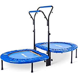 Merax. Kids Mini Trampoline Parent-Child Trampoline with Adjustable Handlebar (Blue)