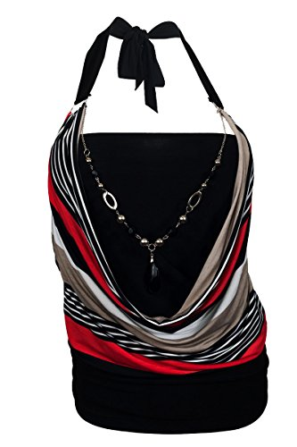 eVogues Plus Size Glitter Print Necklace Accented O-Ring Strap Top Stripe Print Red - 1X ()