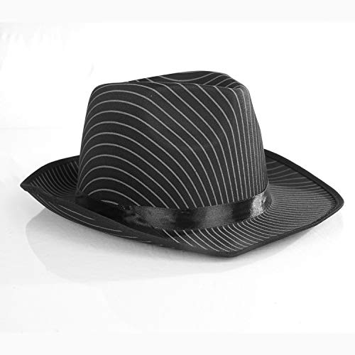 White Pinstripe Gangster Hat Fedora - One Size with Premium Fit Elastic Band