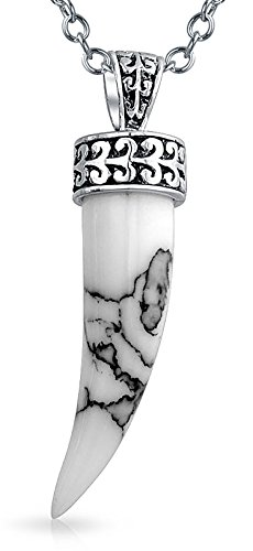 White Howlite Gemstone Horn Pendant Sterling Silver Necklace 18 Inches - Gemstone Italian Charm