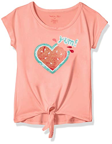 - Colette Lilly Girls' Little Short Sleeve Sequin Tee, Watermelon Peach, 6X