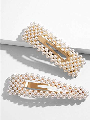 (Pearls Hair Clips for Women Gold Hair Barrettes Pins for Girls Decorative Hair Accessories for Wedding Bridal Bridesmaid Faux Beauty Snap Clips Jewelry Headpiece for Ladies Thick Hair Birthday Gift )