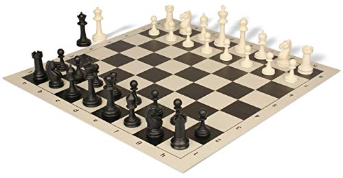Master Series Weighted Plastic Chess Set Black & Ivory Pieces with Black Roll-up Chess Board