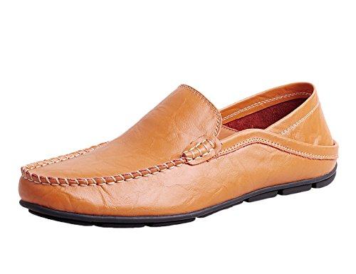 Icegrey Hombres Comodidad Gamuza Mocasines Suave Auténtico Cuero Zapatos de Conducción Marrón claro