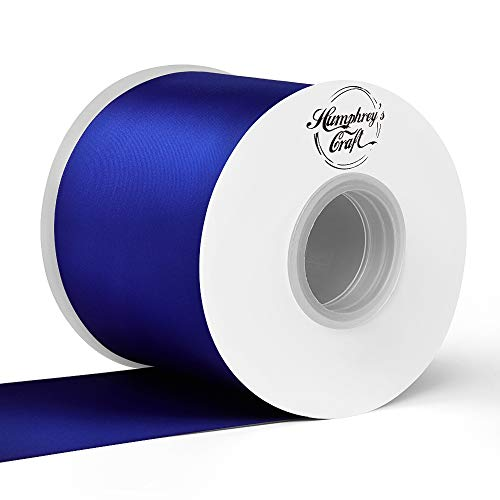 (Humphrey's Craft 3 inch Double Face Solid Satin Ribbon 100% Polyester Ribbon Roll -25 Yard (Cobalt Blue))