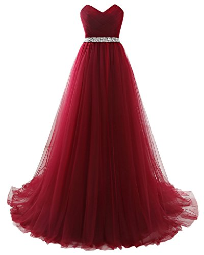 MILANO BRIDE Strapless Empire-Waist Long Prom Evening Dresses 2018 Affordable (8, Burgundy) ()