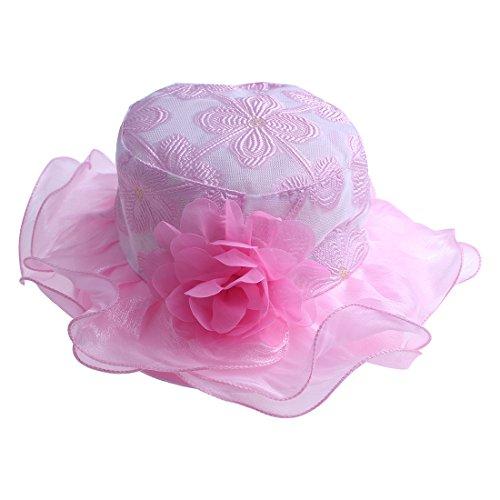 kimmyku Kids Toddler Little Girls Pink Tea Party Hat Flower Sun Hat Floppy Wedding Church Hat (Party Hat Toddler)